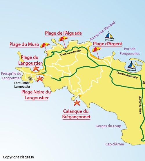 Carte de la plage du Muso à Porquerolles dans le Var