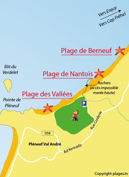 Map of Nantois Beach in Pléneuf Val André