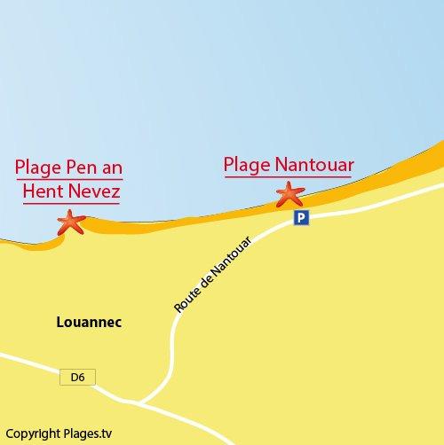 Carte de la plage de Nantouar à Louannec