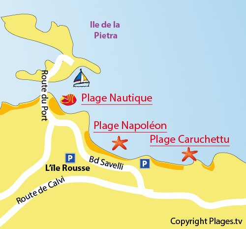 Map of the Napoleon Beach  in Ile Rousse - Corsica