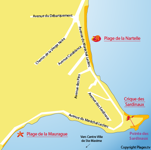 Map of Nartelle beach in Sainte Maxime
