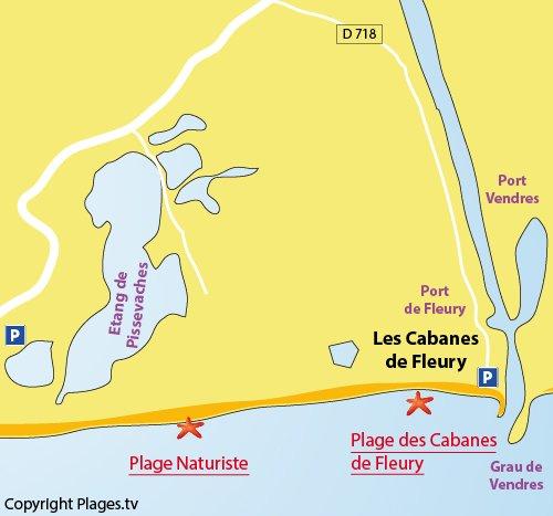 Plan de la plage naturiste de St Pierre sur Mer