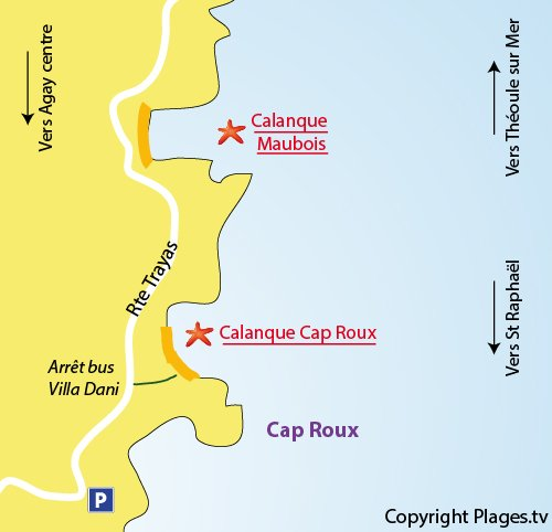 Map of Cap Roux Naturist Beach in Agay