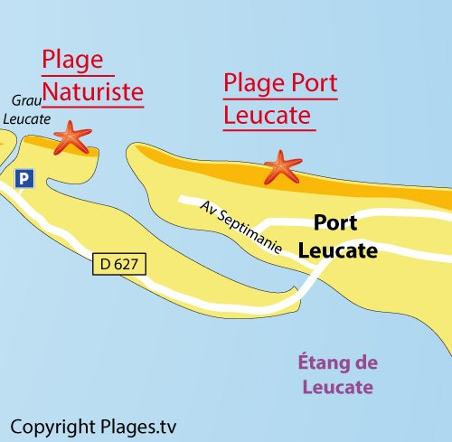 Map of Naturist Beach in Leucate