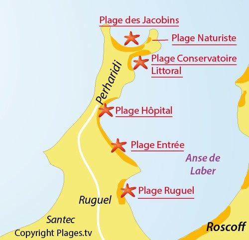 Carte de la plage naturiste de Roscoff