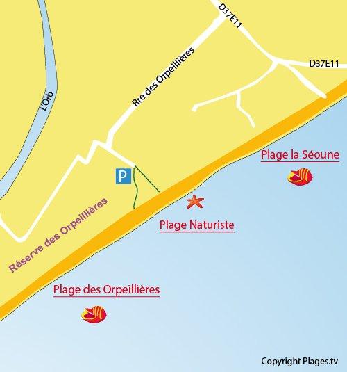 Plan de la plage naturiste à Sérignan