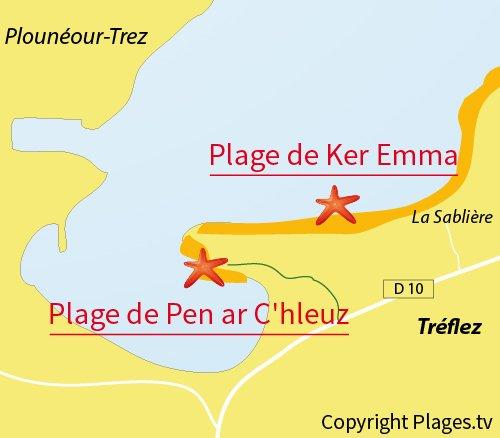 Carte de la plage naturiste de Treflez en Bretagne