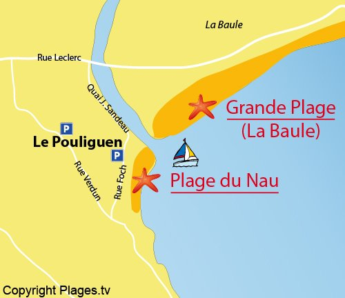 Map of Nau Beach in Pouliguen