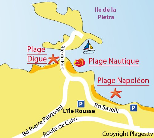 Map of the Nautical Beach in Ile Rousse