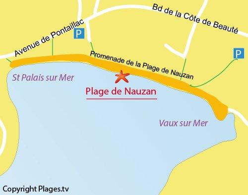 Carte de la plage de Nauzan à Saint Palais sur Mer