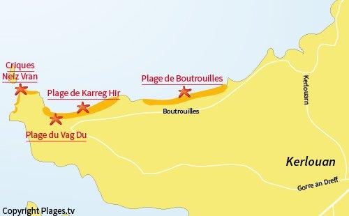Carte des plages de Neiz Vran à Kerlouan