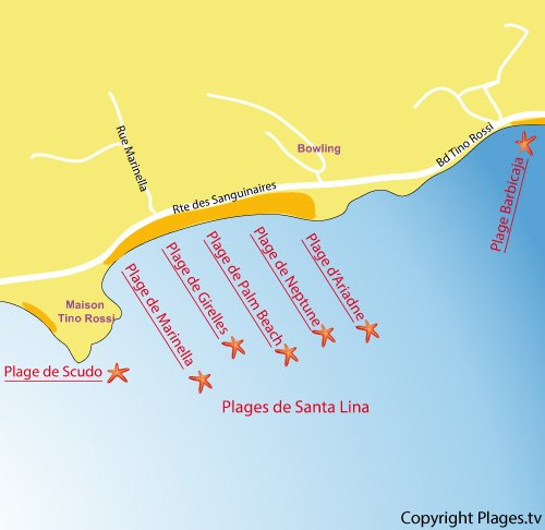 Map of Neptune Beach in Ajaccio