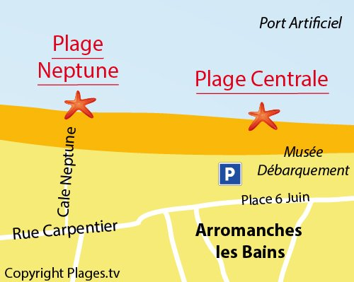 Map of Neptune Beach in Arromanches les Bains