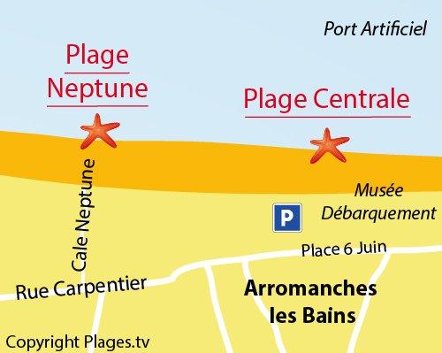 Carte de la plage Neptune d'Arromanches les Bains