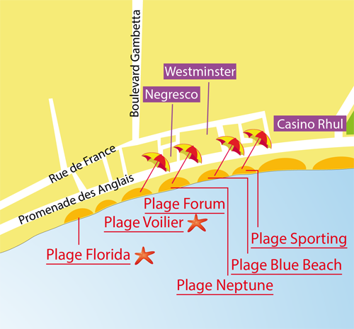 Map of the Neptune beach in Nice in France