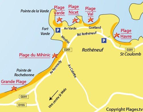 Carte de la plage du Nicet à Saint Malo