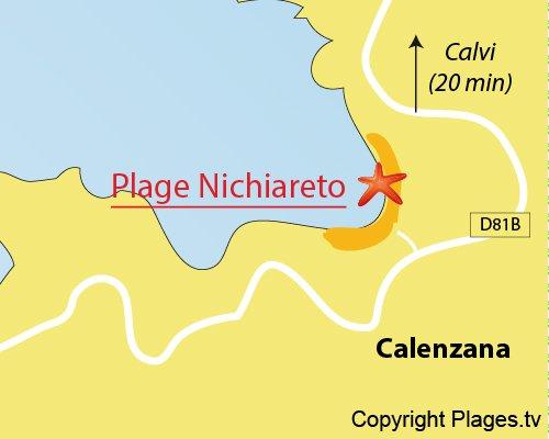 Carte de la plage de Nichiareto à Calenzana