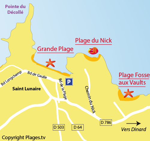 Map of the Nick Beach in Saint Lunaire
