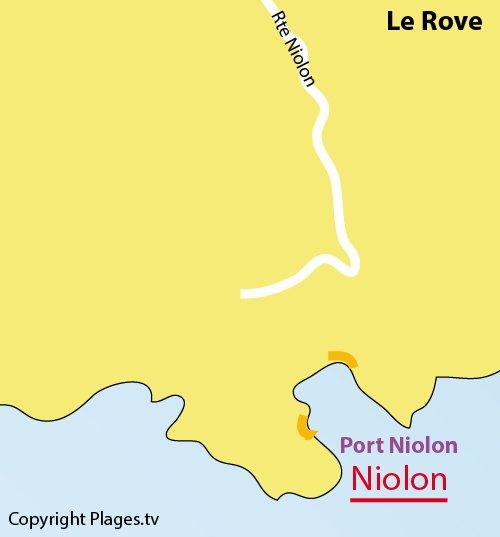 Map of Niolon beach in Le Rove - France