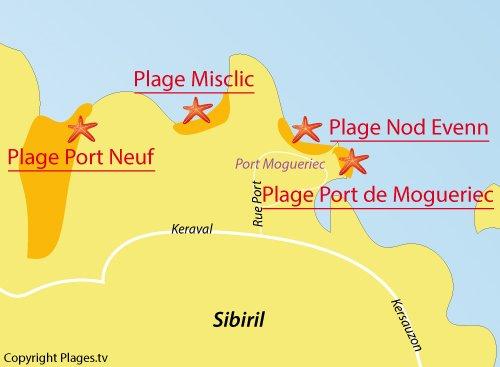 Carte de la plage de Nod Evenn à Sibiril