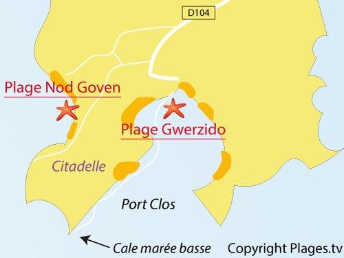 Carte de la plage de Nod Goven sur l'ile de Bréhat