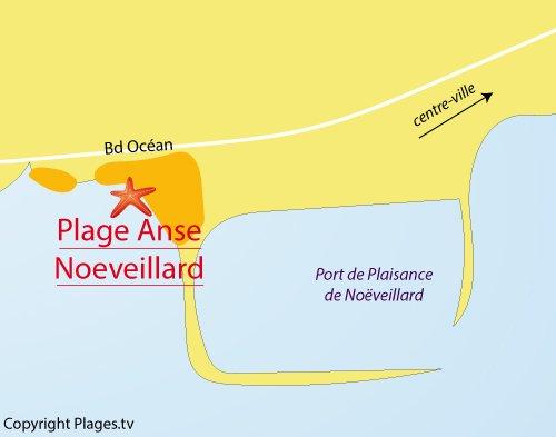 Carte de la plage de Noeveillard à Pornic