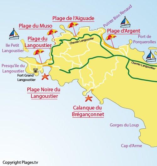 Carte de la plage Noire du Langoustier à Porquerolles