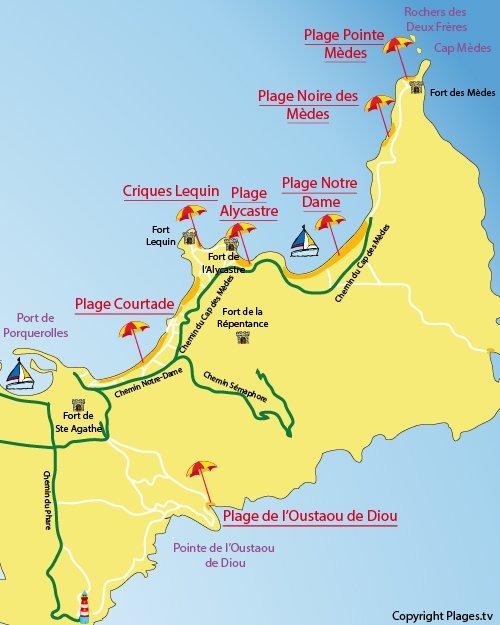 Carte de la plage Noire des Mèdes à Porquerolles