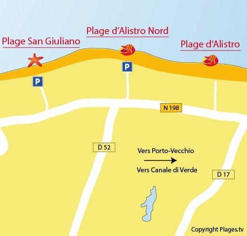Plan de la plage Nord d'Alistro en Corse