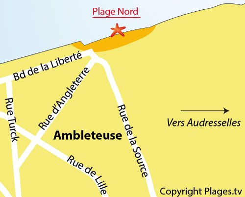 Map of North Beach in Ambleteuse