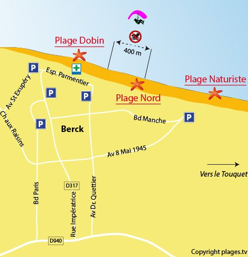 Map of the North beach in Berck