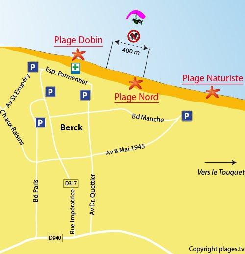 Mappa della spiaggia Nord a Berck