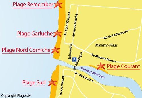 Plan de la plage Nord Corniche à Mimizan