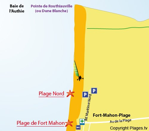 Map of North Beach in Fort Mahon