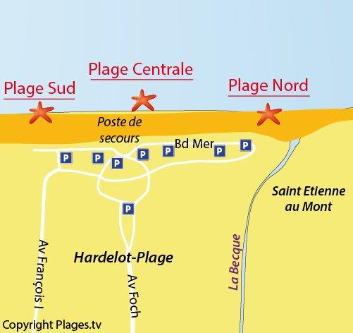 Carte de la plage nord d'Hardelot Neufchatel