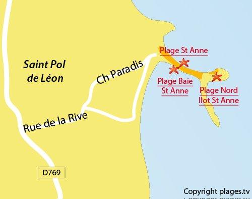 Carte de la plage au nord de l'ilot de Sainte Anne à St Pol de Léon