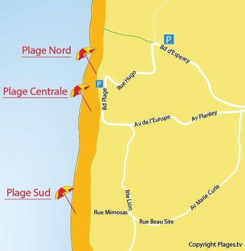 Carte de la plage Nord de Lacanau Océan
