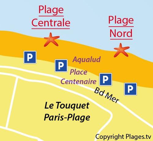 Carte de la plage Nord du Touquet