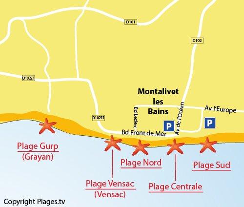 Plan de la plage Nord de Montalivet