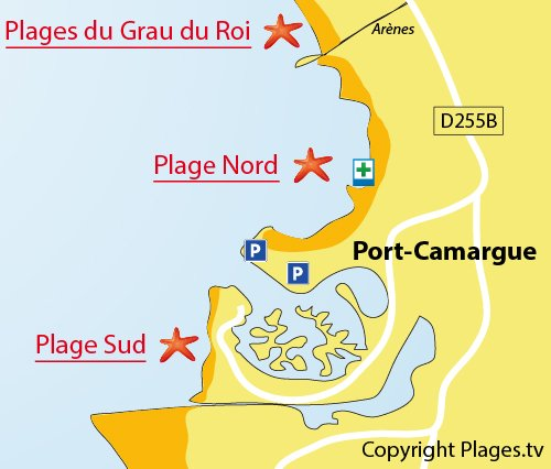 Map of the North beach in Port Camargue