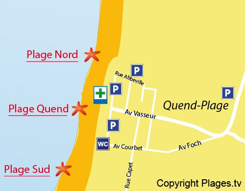Map of North Beach in Quend