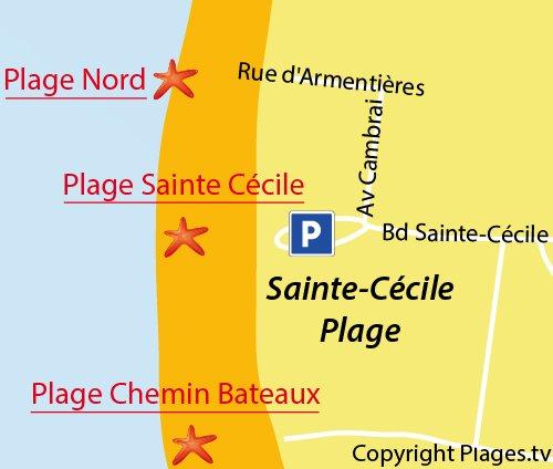 Carte de la plage Nord de Sainte Cécile