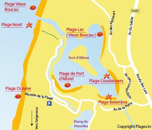 Mappa della Spiaggia Nord a Soustons