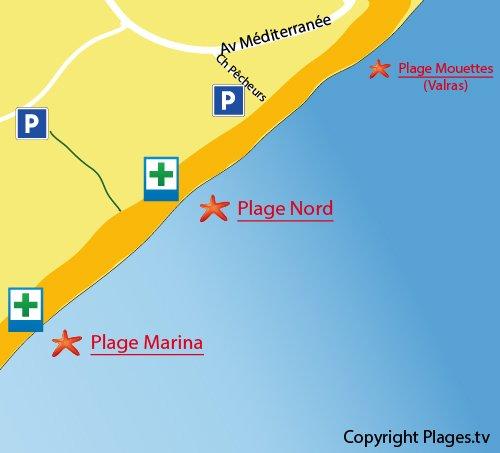 Carte de la plage Nord de Vendres