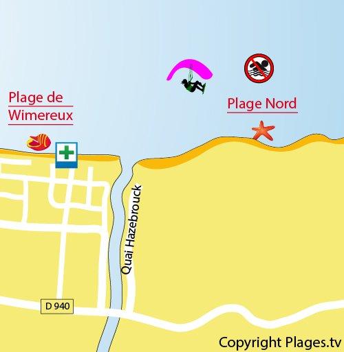 Carte de la plage Nord de Wimereux