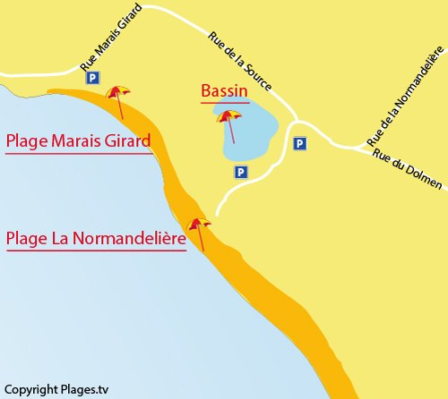Map of Normandelière Beach in Brétignolles sur Mer