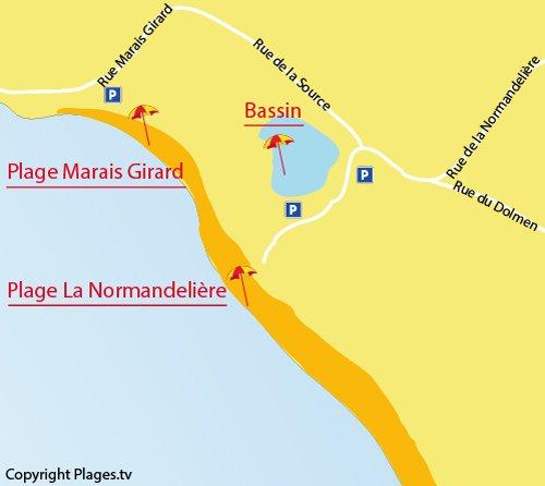 Plan de la plage de la Normandelière à Brétignolles sur Mer
