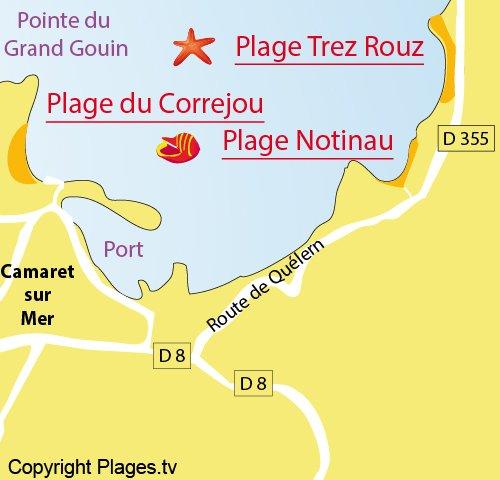 Map of Notinau Beach in Camaret sur Mer