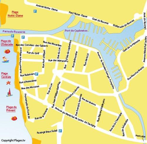 Carte de la plage Notre Dame à Capbreton