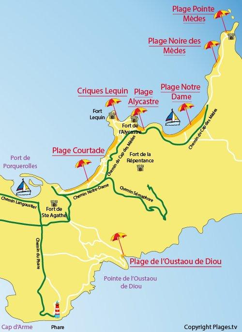 Mappa della Spiaggia Notre Dame a Porquerolles